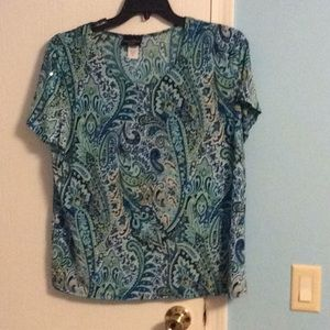 2X sequin paisley shirt by Brittany Black woman